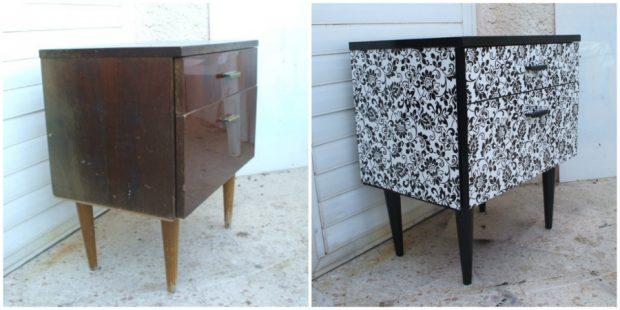 Старото нощно шкафче може да изглежда много по-атрактивно с малко флорални мотиви
