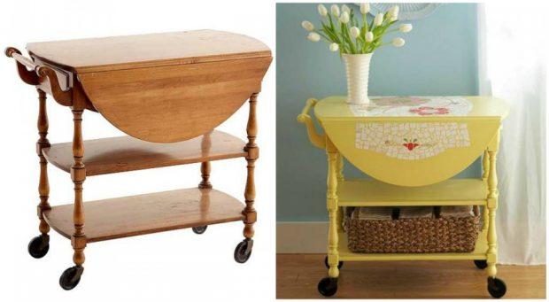 Старомодната маса на колеца се трансформира в стилно пространство за съхранение