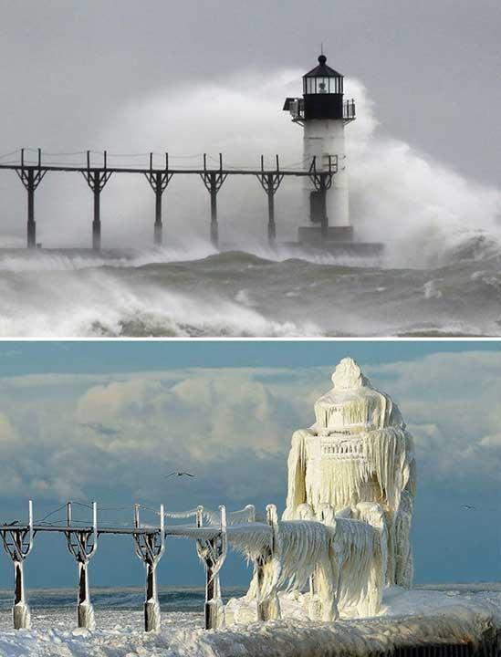 Морски фар, заснет преди и след зимна буря
