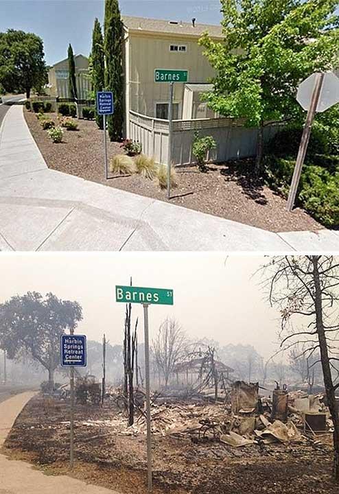 Преди и след огромен пожар, обхванал Калифорния