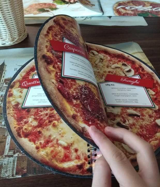 Менюто на този италиански ресторант е с кръгла форма и ти показва точно как изглежда всяка пица, която се предлага