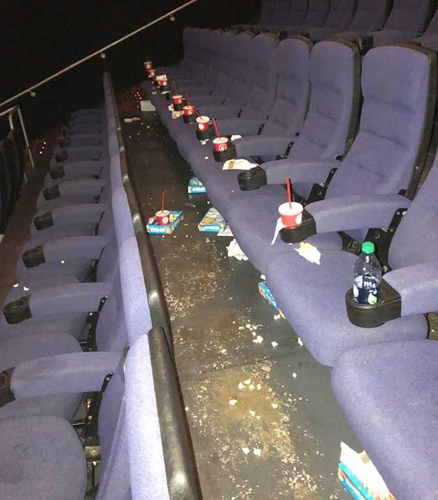 Хората, които оставят купища боклук след себе си в киносалоните, след като филмът свърши