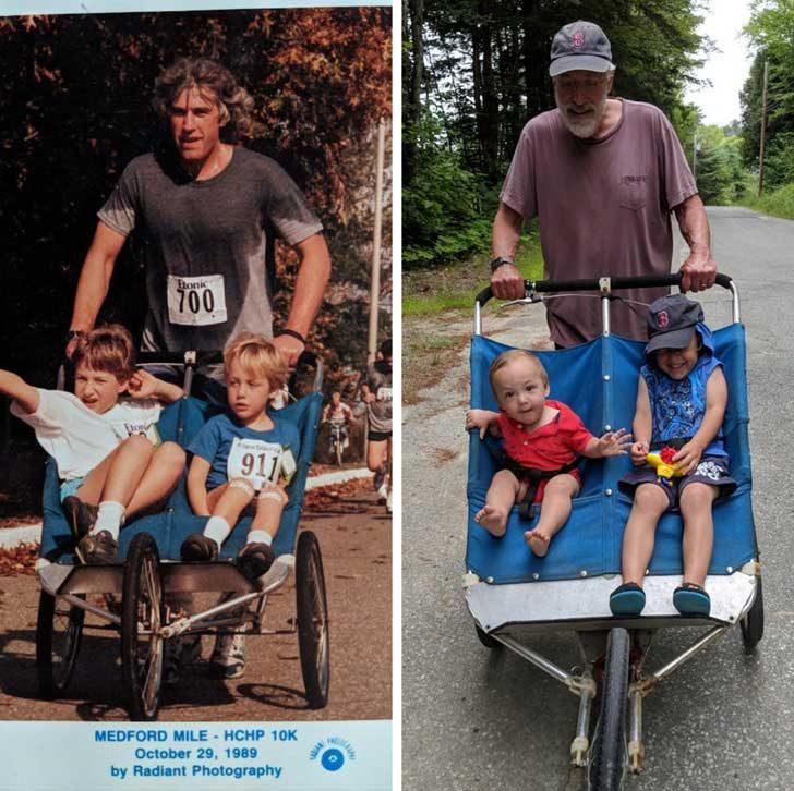 """""""Татко разхожда мен и брат ми в бебешката количка. Днес разхожда моите синове в същата количка"""""""