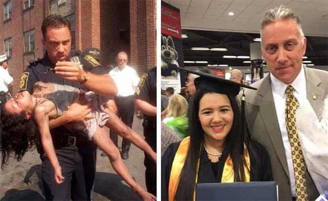 Този полицай спасява 5-годишно момиче от горяща сграда през 1998 г., а 18 години по-късно присъства на дипломирането й