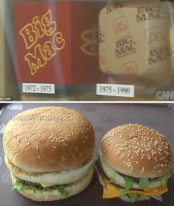 Сравнение в размера на сандвичите на Макдоналдс през годините