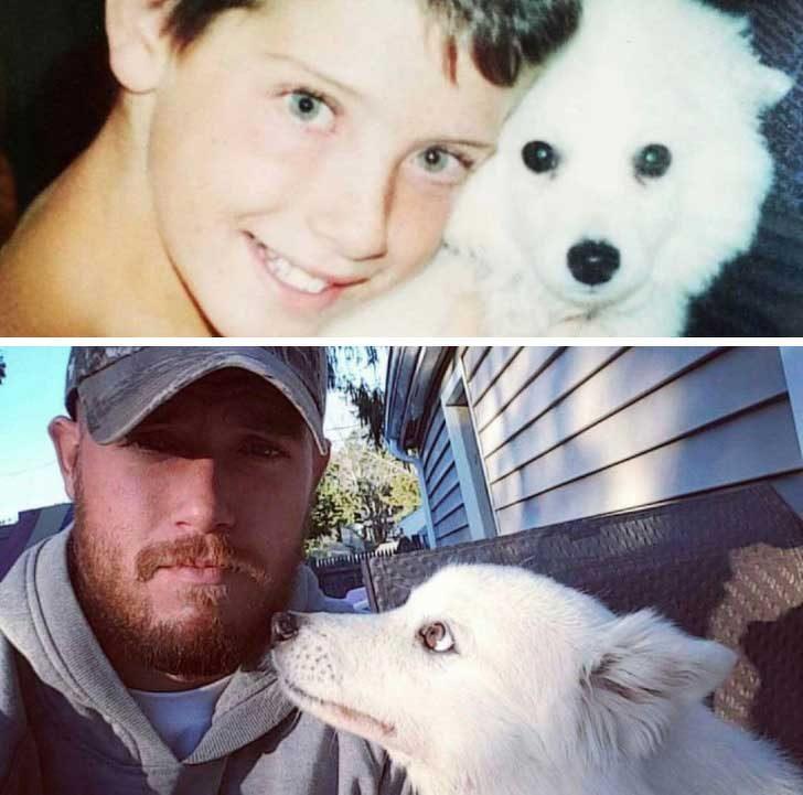 """""""Моето момче и аз, когато той беше пале и след това долната снимка от преди може би 2 години. Той е на 15 и става все по-силен!"""""""