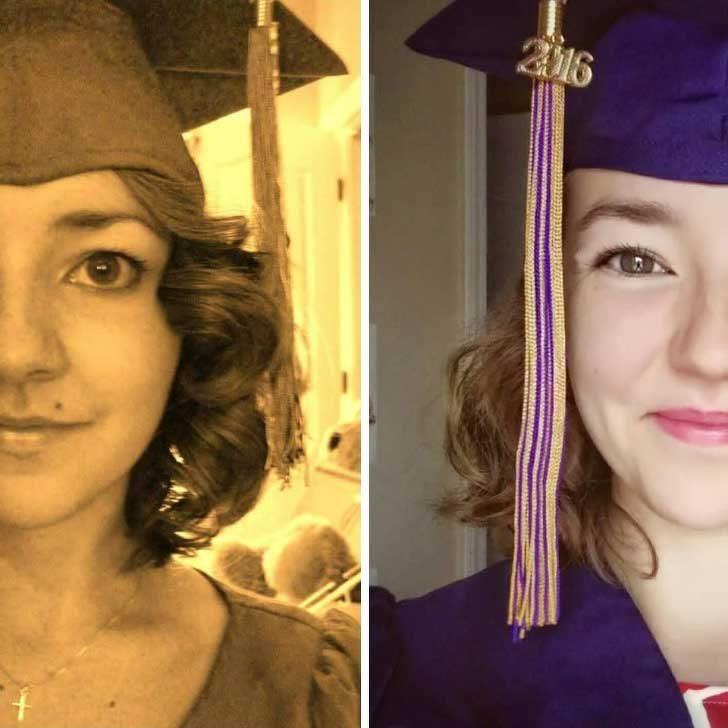 """""""Двете снимки са от завършването на гимназия (в ляво) и колеж (в дясно). Харесва ми колко по-щастлива съм след колежа. Все още възприемам тези години като най-добрите в живота ми"""""""