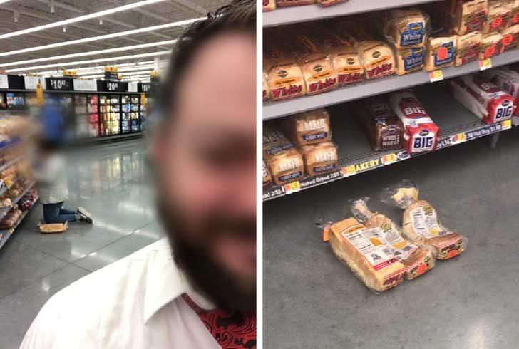 """""""Тази дама беше коленичила върху два хляба, докато разглеждаше останалите в магазина"""""""