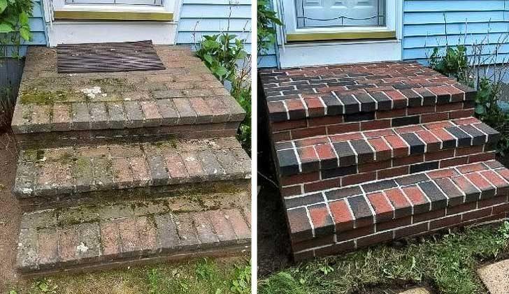 Пароструйката е преобразила тези стълби да изглеждат като нови