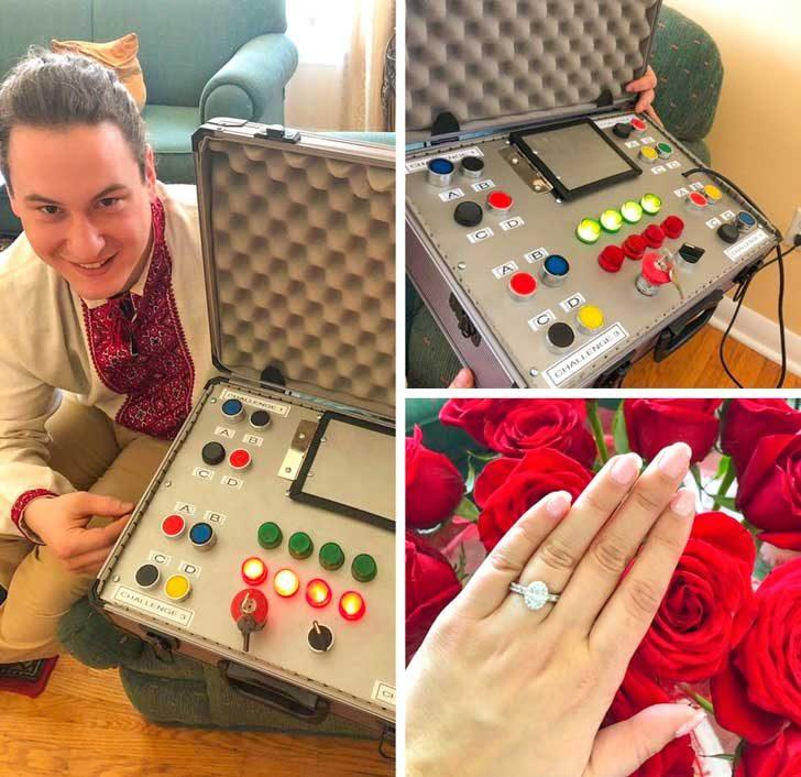 """""""Моят годеник, който е електротехник построи това устройство, което трябваше да разгадая, за да разбера, че ми предлага брак! Той беше написал стихотворение, коието ми даде отговорите на четирите предизвиактелства. Аз разбирасе казах """"Да!"""""""
