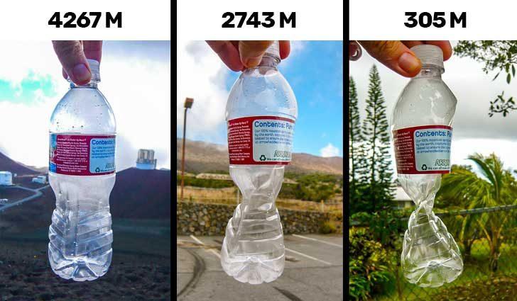 Тази затворена пластмасова бутилка показва как действа въздушното налягане с промяната на височината