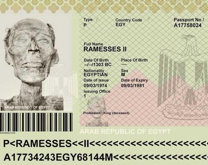 Египетският паспорт на легендарния фараон Рамзес II