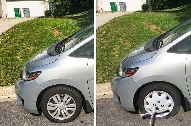 Използвах малко Photoshop, за да направя гумата ми да изглежда като спукана и да се измъкна от работа днес