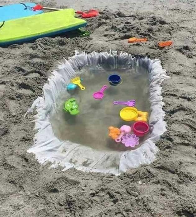 Направи басейн за децата на плажа от старата завеса за душ