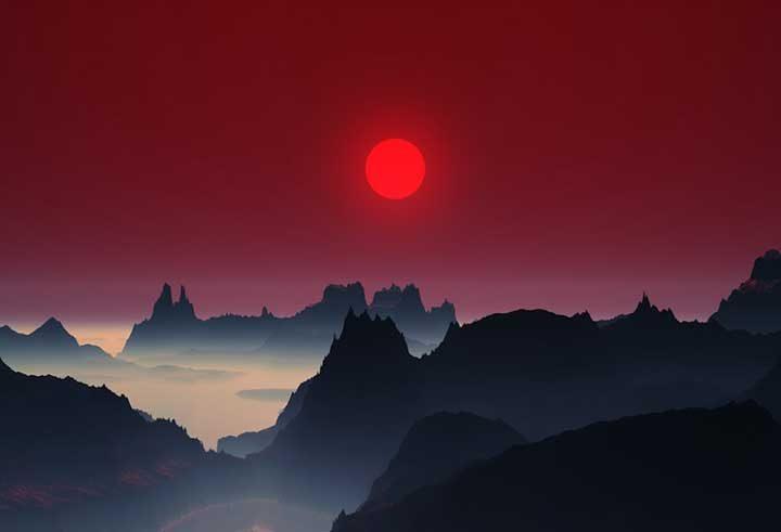 Залез в планините на Япония