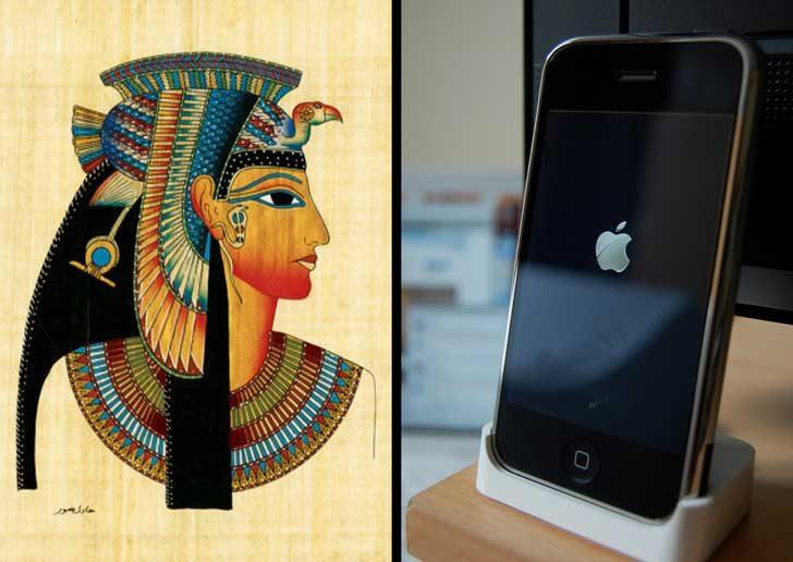 Клеопатра (30 г. пр. Хр.) е живяла по-близо до изобретяването на първия iPhone (2008 г.), отколкото до построяването на големите пирамиди в Египет (2560 г. пр. Хр.)