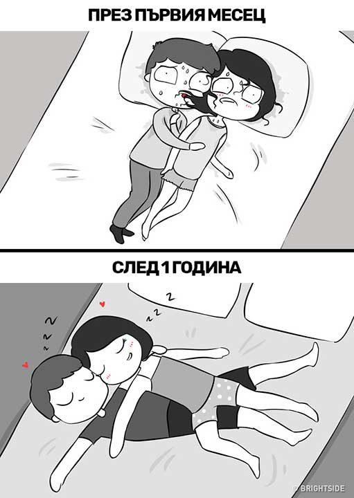 Чувстваш ли се неудобно, когато се гушкате през нощта? Опитните двойки са намерили решение