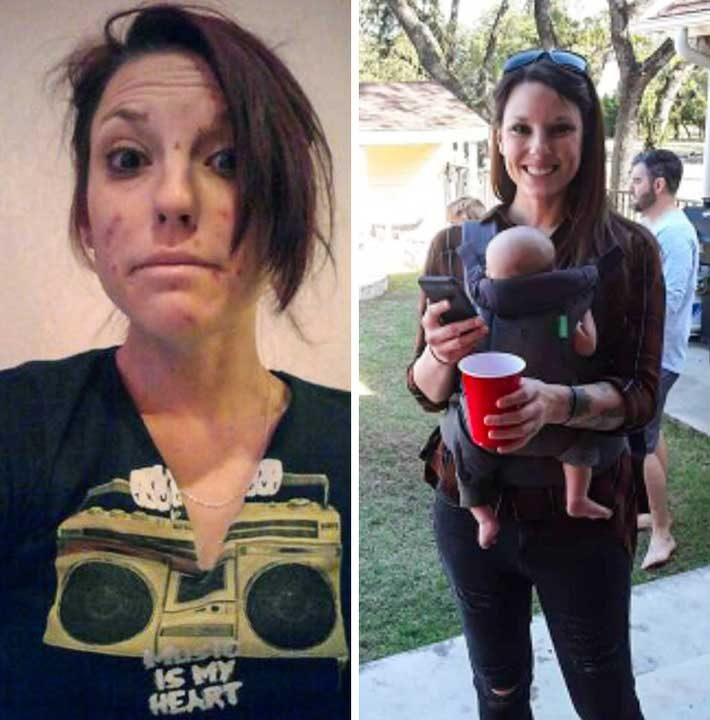 В ляво: 10 години наркотична зависимост. В дясно: 3 години чиста от наркотиците