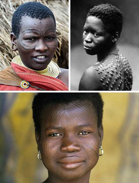 Белези по кожата, Нова Гвинея и Западна Африка