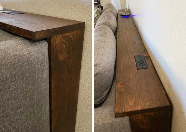 Кой не би искал зад дивана да има удобен рафт с изведени контакти