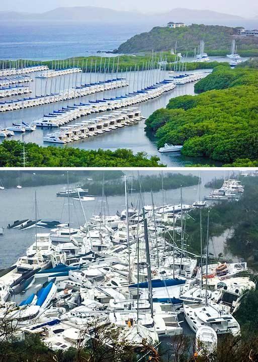 Заливът Паракита на Британските Вирджински острови се използва от собствениците на яхти като място за изчакване на сезона ургананите. Ето и снимки преди и след