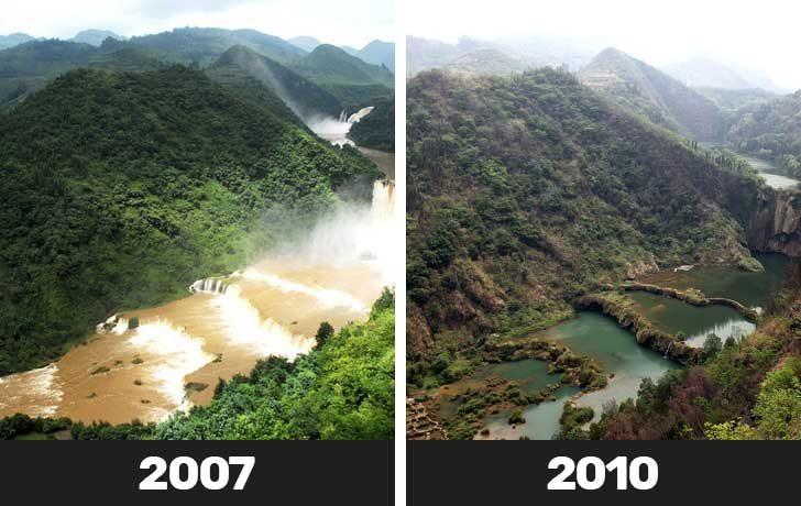 Сушите стават по-чести и интензивни, което води до временно изчезване на внушителните водопади