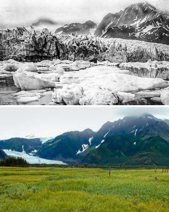 Ледник Педерсен, Аляска - преди 100 години и сега