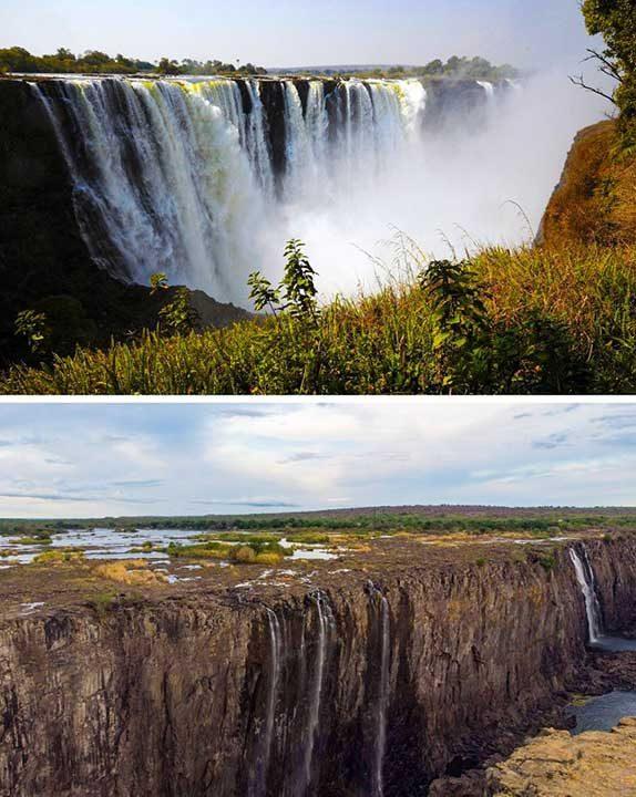 Великолепният водопад Виктория се е превърнал в малко поточе