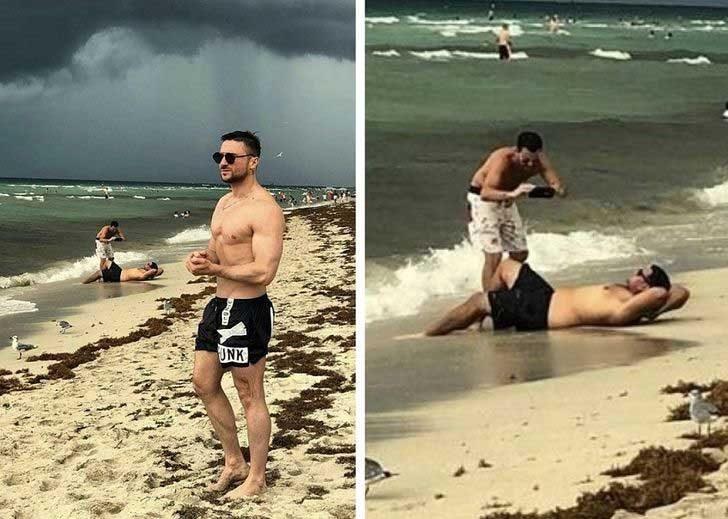 Той си мислеше, че ще покаже малко мускули на фона на морето, но не предполагаше за симпатягите на заден план