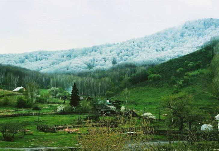 Ето как пада снегът над Алтай