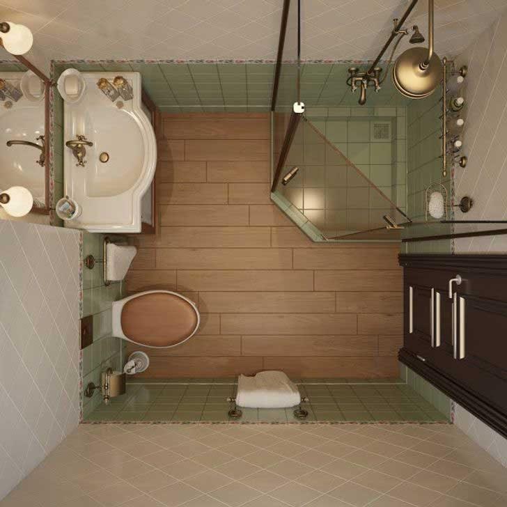Изборът на месингови тела и ретро дизайн могат да придадат дори на малката баня усещане за лукс