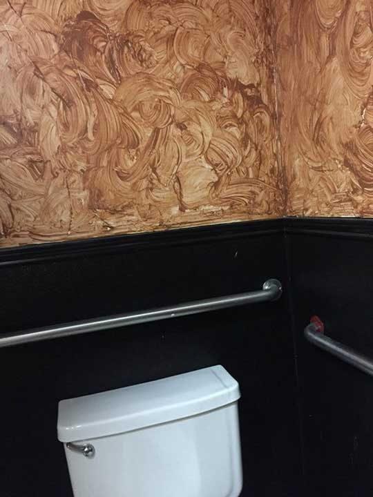 Малко странен цвят за стените на тоалетна, особено обществена. Честно казано, не вдъхва много доверие