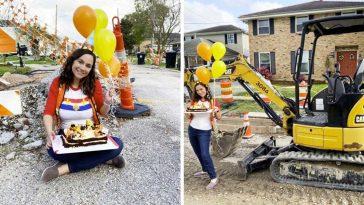 Жена организира парти за незавършен ремонт на пътя край дома си