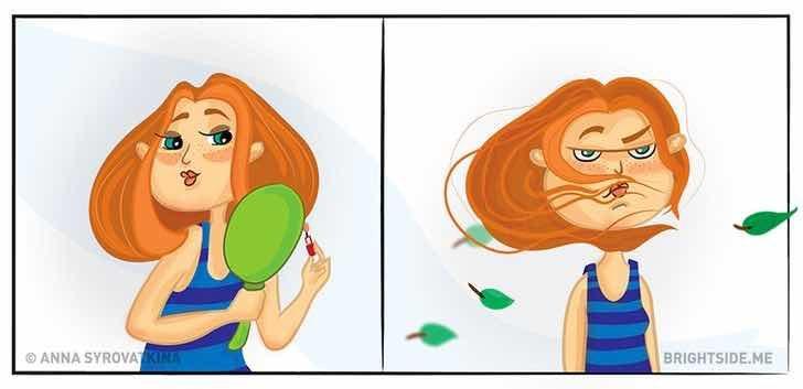 Гланц за устни + ветровит ден = бедствие