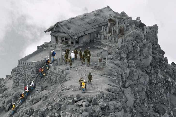 Светилище, погълнато от пепелта на изригнал вулкан