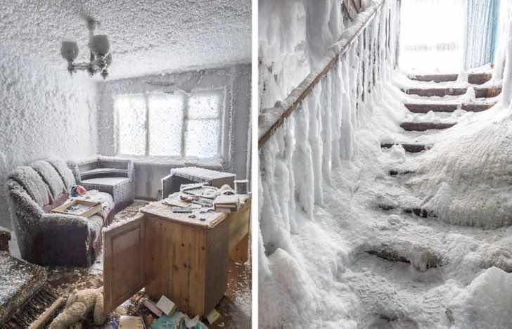 Снегът е покрил този изоставен апартамент на север от Северния полярен кръг в Русия